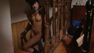 Cute lucy lee in long leather gloves  boots and peaked cap