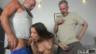 Old Young Porn Group fucked Teen Takes 2 grandpa cocks and cums hardcore