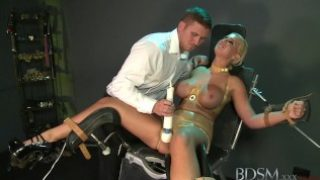 BDSM XXX Blonde subs have squirting orgasms from Magic Wand